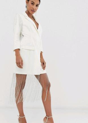 Платье пиджак с открытой спинкой, бахрома, бисер asos