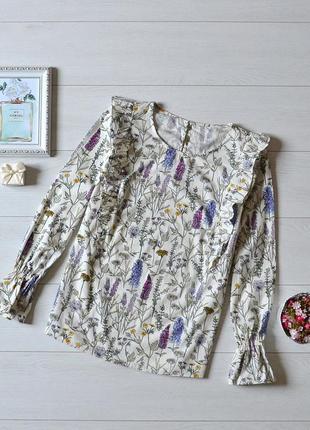 Чудова котонова блуза в квіти з рукавами воланами tu