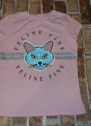 Нарядная котон футболка девочке 8 - 9 лет f&f