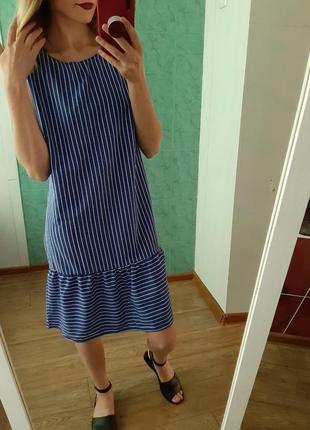 Платье, сарафан прямого кроя в актуальную полоску