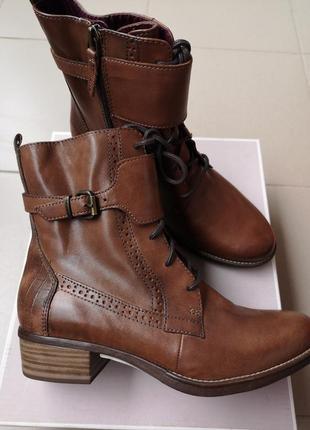 Шикарные деми ботинки кожа tamaris