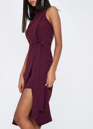 Платье бордо марсала винное две длины на поясе шифоновое миди длинное river island