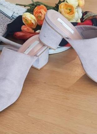 Шлепанцы мюли босоножки на устойчивом каблуке