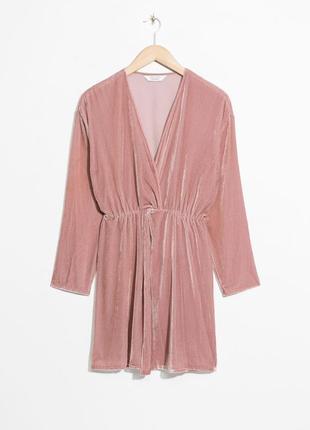 Розовое пудровое платье халат рубашка велюровое с запахом &other stories