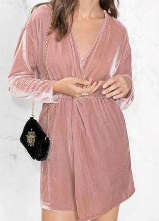 Розовое пудровое платье халат рубашка велюровое с запахом &other stories2 фото