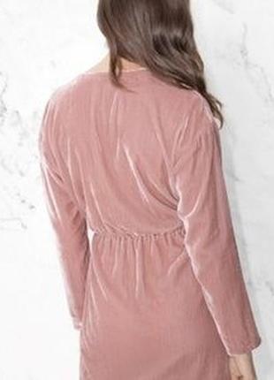 Розовое пудровое платье халат рубашка велюровое с запахом &other stories3 фото