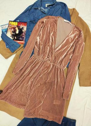 Розовое пудровое платье халат рубашка велюровое с запахом &other stories5 фото