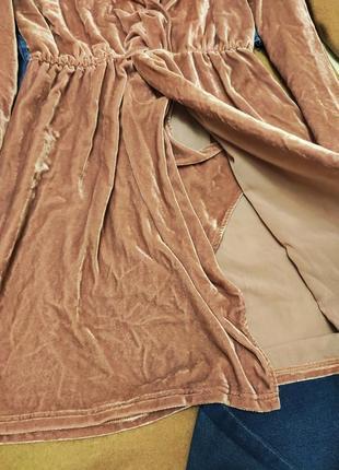 Розовое пудровое платье халат рубашка велюровое с запахом &other stories7 фото
