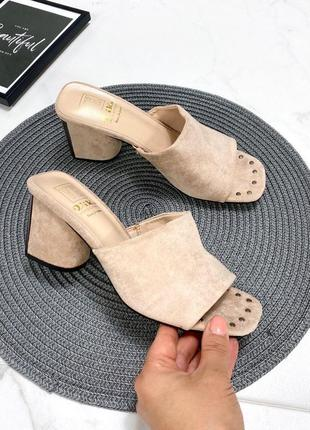 Сабо женские на каблуке эко замш бежевые