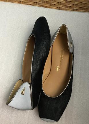 Эксклюзивные кожаные туфли, бренд, мех, светоотражатели