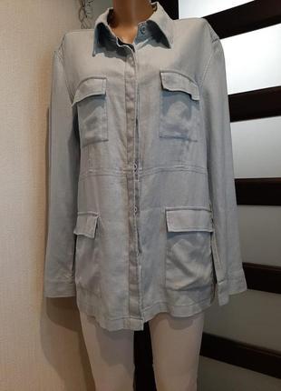100% лен стильный нежно-голубой пиджак жакет блейзер кардиган куртка парка