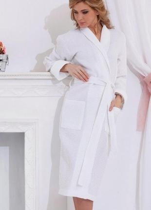 Вафельный халат s luxyart пудра, размер (42-44) s