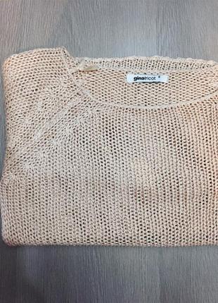 Нюдовый свитер сетка gina tricot