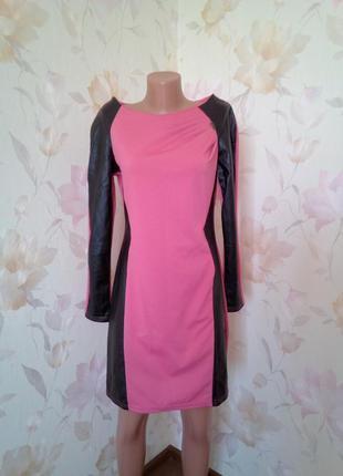 Коралловое платье с вставками эко кожа