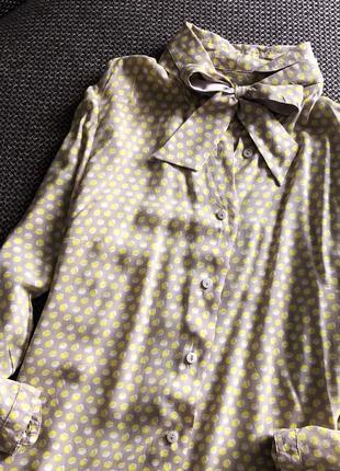 Шикарна блуза в горох з бантиком