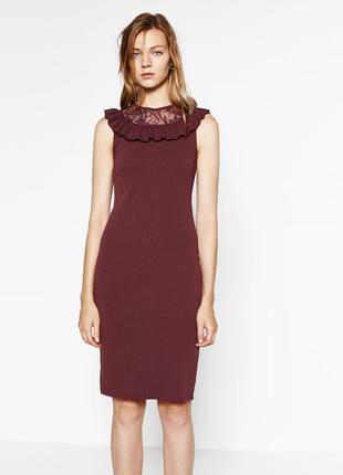Бордовое платье миди с кружевом от zara