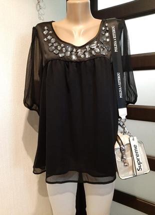 Тончайшая лёгкая черная блузка рубашка кофточка оверсайз