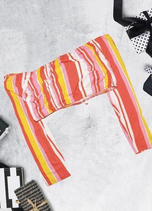 Укороченный полосатый яркий топ с открытыми плечами boohoo3 фото