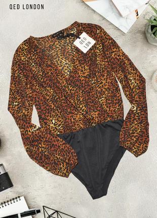 Новое леопардовая блуза боди qed london