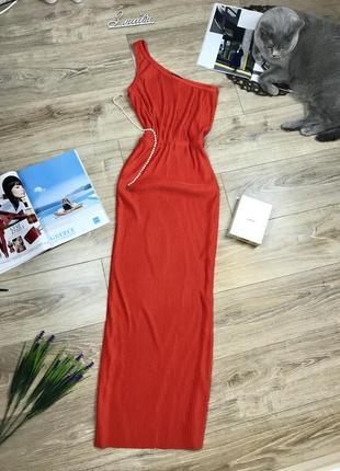 Шикарное яркое легкое плиссированное длинное макси платье на одно плечо 🔥