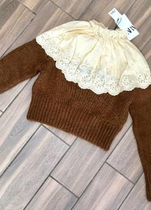 Новый свитер с кружевной вставкой zara