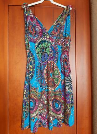 Удобное платье летнее с принтом голуб красн разноцвет цветн размер m резинка туник