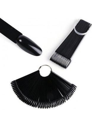 Типсы веер на 32 ногтя миндальная форма черные для демонстрации гель лаков