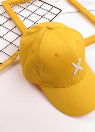 """Стильна жіноча бейсболка """"х"""" колір жовтий"""