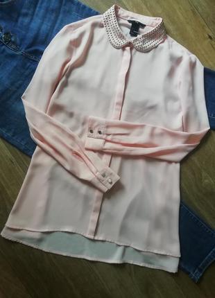 H&m стильная шифоновая блузка свободного кроя с заклепками, сорочка, блузка, рубашка