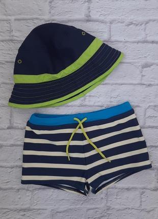 Пляжный купальный набор, плавки и панамка на мальчика 3-6 лет