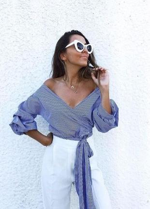 Шикарная блуза в полоску с пышными рукавами