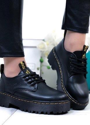 Туфли женские новые черные на платформе натуральная кожа