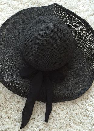 Шляпа пляжная в узор с лентой плетёная h&m