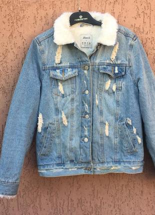 Джинсовая куртка с мехом тёплая джинсовая куртка