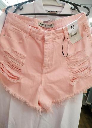 Пудровые шорты с завышенной талией размер 16