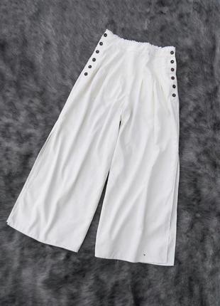 Брюки штаны кюлоты из смеси льна и вискозы оттенка айвори