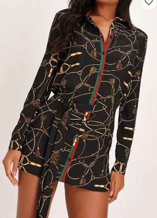 I saw it first. товар из англии. платье рубашка с поясом в гламурном принте.3 фото