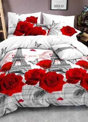 Постельное белье красные розы париж эйфелева башня