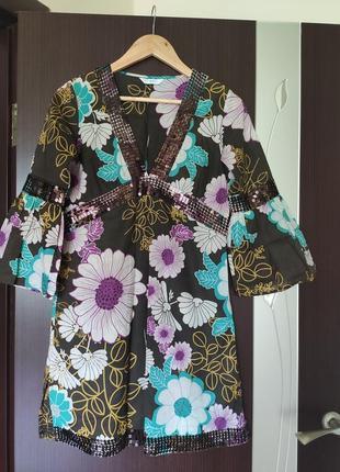 Платье, туника хлопковая, с пайетками