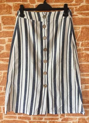 Актуальна юбка в полоску та великими дерев'яними пуговками, фабрична, італія, розмір с-м