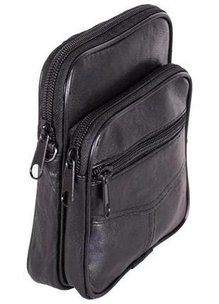Кожаная мужская сумка 303702 черная барсетка через плечо на пояс 16х14х5см