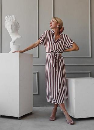 Тренд платье-рубашка в полоску изо льна с пояском