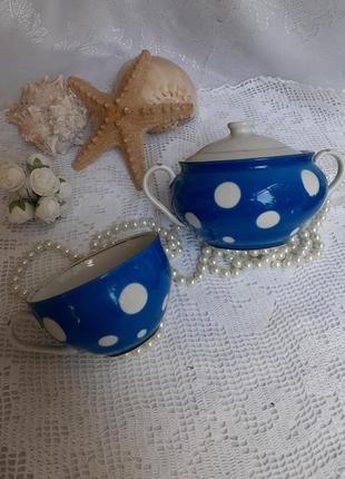 Сервиз чайный сахарница и чашка барановка фарфор ссср горошек синий винтаж 1960