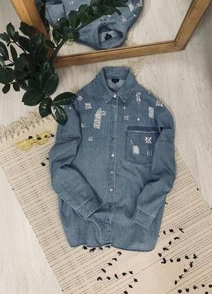 Оверсайз джинсова рубашка від river island🌿