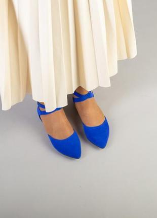 Синие замшевые босоножки с закрытым носком