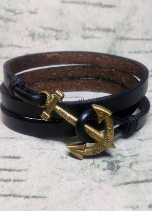 Мужской кожаный браслет с якорем .