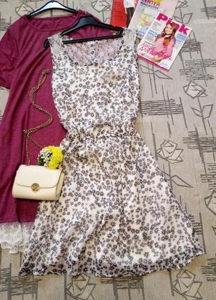 Нежное цветочное платье с кружевом, only, размер 10-12