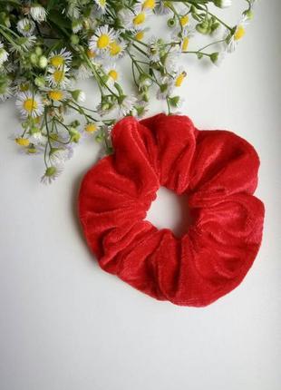 Резинка для волос твилли, твіллі, 90-е, бархатная, красная, червона, оксамитова!