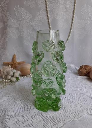 Ваза летняя капель ссср художественное зеленое стекло урановое литая
