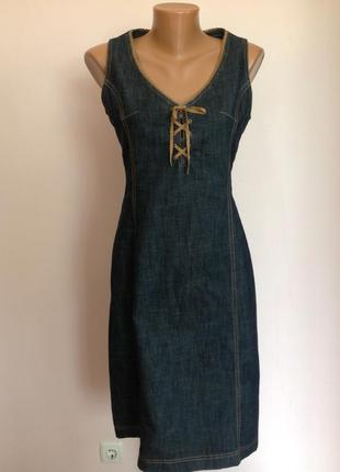Темно синее джинсовое платье- футляр/40/brend jeans votre nom